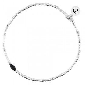 Bracelet fin élastique INFINITY Argent - Tubes perles & Perle de verre noire - DORIANE Bijoux