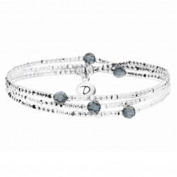 Bracelet élastiqué LOLLILOP trois rangs - Perles Argent & Bleues 6 DORIANE Bijoux