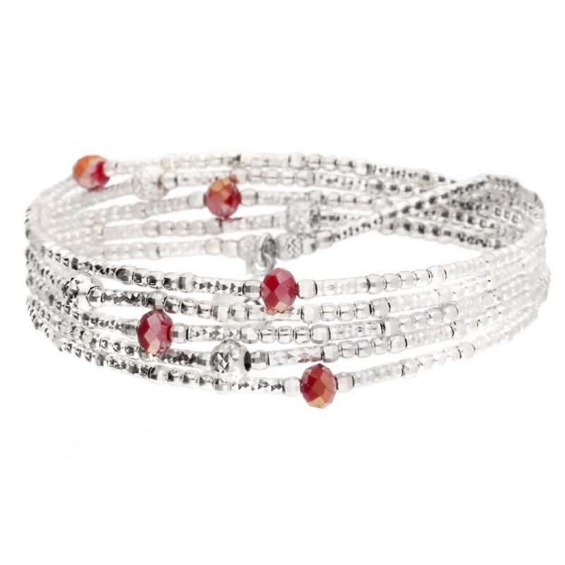 Bracelet élastiqué LOLLILOP 5 rangs - Perles Argent & Perles rouge doriane bijoux