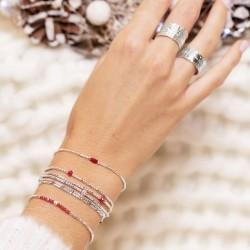 Bracelet élastiqué LOLLILOP 5 rangs - Perles Argent & Perles rouge TAILLE M