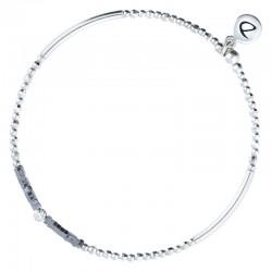 Bracelet élastiqué FLIRTING - Perles argent & Hématites grises DORIANE BIJOUX