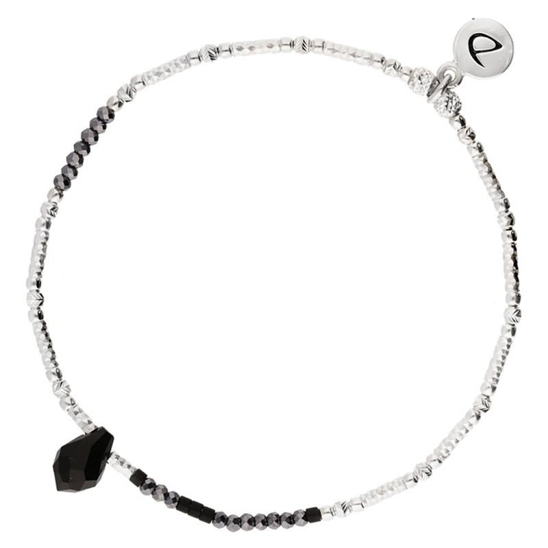 Bracelet élastique SWEET Argent - Tubes Miyuki & Perles noires DORIANE BIJOUX