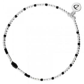 Bracelet fin élastique INFINITY Perles Argent & Perles Miyuki noires DORIANE Bijoux