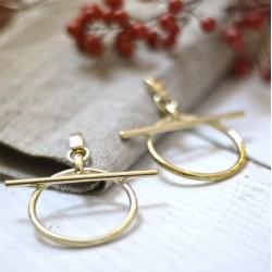 Boucles d'oreilles Créoles RING métal - Anneaux ronds & Barre transversale