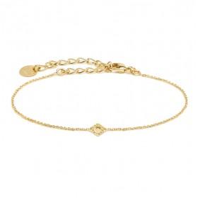 Bracelet fin PETIT LUZ Or - Chaîne fine & Petit losange diamanté texturé - BDM Studio