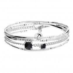 Bracelet double élastiqué ONYX NOIRS Argent - Perles tubes & Chaîne maille gourmette - DORIANE Bijoux