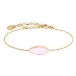 Bracelet fin AGATHE Or - Chaîne fine & Cabochon allongé émail rose - BDM Studio