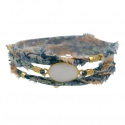 Bracelet multi-tours LANA - Tissu liberty bleu blanc & Onyx blanc ovale - BY GARANCE