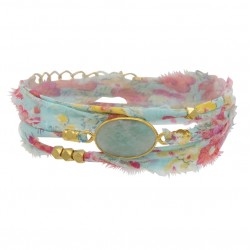 Bracelet multi-tours LANA - Tissu liberty rose céladon & Amazonite ovale - BY GARANCE