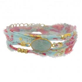 Bracelet multi-tours LANA - Tissu liberty rose céladon & Amazonite ovale - BY GARANCE