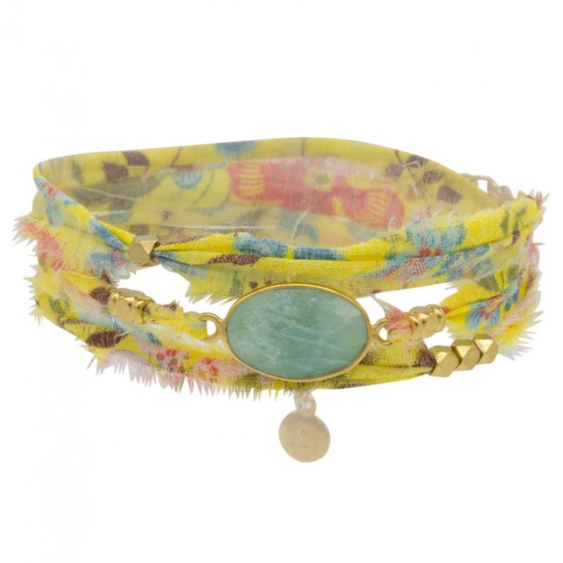 Bracelet multi-tours LANA - Tissu liberty jaune céladon & Amazonite ovale - BY GARANCE