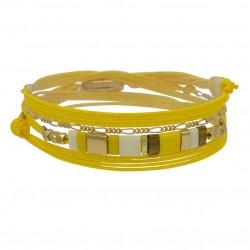 Bracelet multi-tours CARRY cordon jaune - Chaînette dorée & Perles plates - BY GARANCE