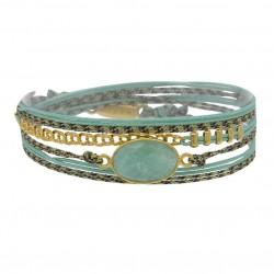 Bracelet multi-tours RITA - Cordons céladon & Amazonite facettée ovale - BY GARANCE