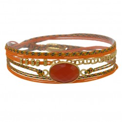 Bracelet multi-tours RITA - Cordons orange & Agate facettée ovale - BY GARANCE