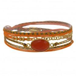 Bracelet multi-tours RITA - Cordons orange & Agate facettée ovale - BY GARANCE