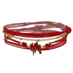 Bracelet multi-tours NAIA cordons rouge doré - Chaîne & Coquillages - BY GARANCE