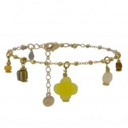 Bracelet chaîne TOSCA jaune doré - Pendentifs pierres & Trèfle agate jaune - BY GARANCE