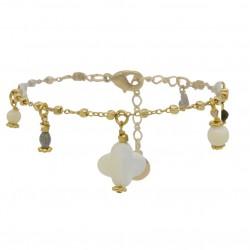 Bracelet chaîne TOSCA blanc doré - Pendentifs pierres & Trèfle en nacre BY GARANCE