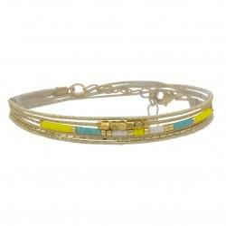 Bracelet multi-tours LOU cordons chaîne doré - Perles jaune turquoise blanc - BY GARANCE