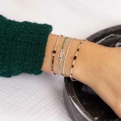 Bracelet fin élastique INFINITY Argent - Perles Miyuki & Perle noires TAILLE L