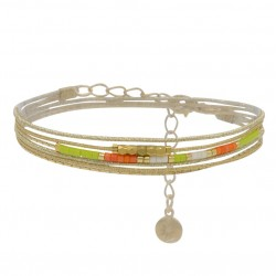 Bracelet multi-tours LOU cordons chaîne doré - Perles vert anis corail blanc - BY GARANCE