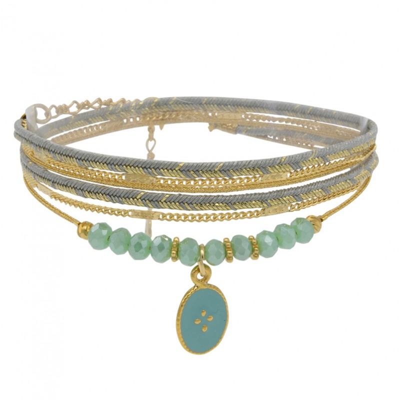 Bracelet multi-rangs ANITA - Lurex céladon doré & Médaille texturée - BY GARANCE