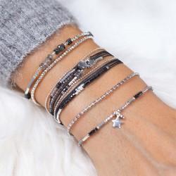 Bracelet élastique GRAIN DE FOLIE - Perles argent & Miyuki grises TAILLE S