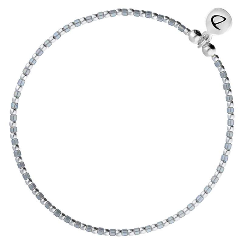Bracelet élastique GRAIN DE FOLIE - Perles argent & Miyuki grises DORIANE BIJOUX