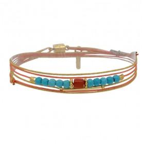 Bracelet multi-tours cordons CINDY corail doré - Liens & Pierres corail turquoise - BY GARANCE