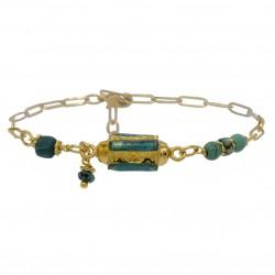 Bracelet chaîne CELESTE turquoise doré - Pierres & Turquoise en tube antique - BY GARANCE