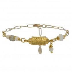 Bracelet chaîne CELESTE - Perles blanches & Tube antique doré BY GARANCE