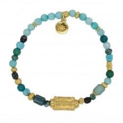 Bracelet LISABE MANON Perles turquoises & Tube texturé antique doré by Garance
