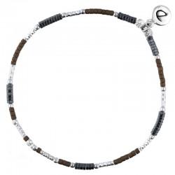 Bracelet élastique fin BRIGHT Argent - Perles choco & Hématites noires DORIANE BIJOUX