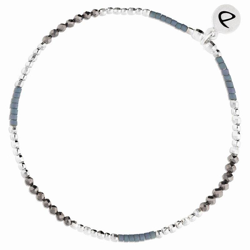 Bracelet élastique fin NAPLES Argent & Perles gris bleu DORIANE BIJOUX
