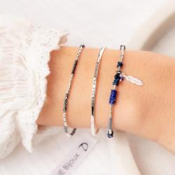 Bracelet élastique fin NAPLES - Perles argent & Perles de verre grises TAILLE M
