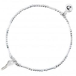Bracelet fin élastique CLEF Argent - Tubes diamantés & Pendentif clef - DORIANE Bijoux