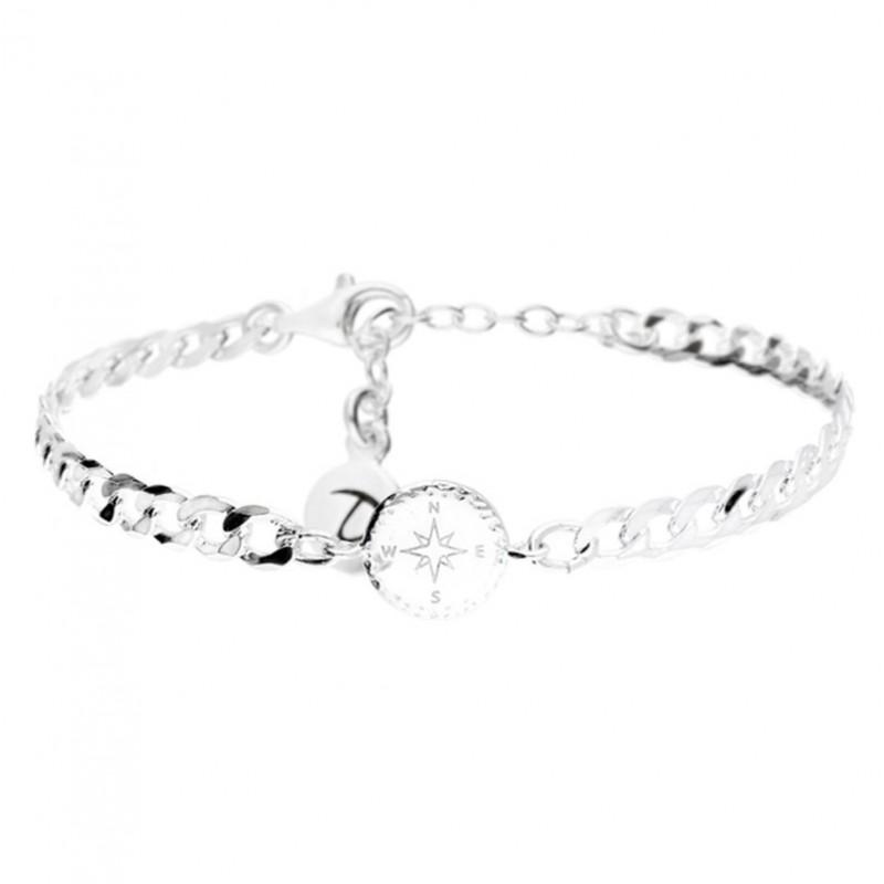 Bracelet chaîne gourmette Argent - Médaille Rose des vents DORIANE BIJOUX