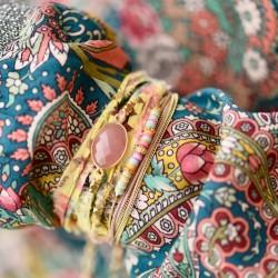 Bracelet multi-tours LANA - Tissu liberty jaune céladon & Amazonite ovale