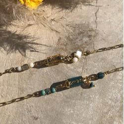 Bracelet chaîne CELESTE blanc doré - Pierres de Lune & Tube antique