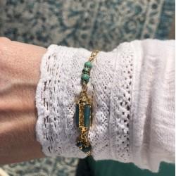 Bracelet chaîne CELESTE turquoise doré - Pierres & Turquoise en tube antique