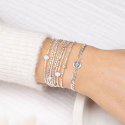 Bracelet gourmette WIND Argent - Chaîne & Médaille Rose des vents