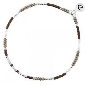 Bracelet élastique fin Tubes diamantés Argent - Perles beige & choco  DORIANE BIJOUX