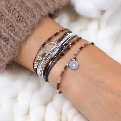 Bracelet élastique fin Tubes diamantés Argent - Perles beige & choco TAILLE M