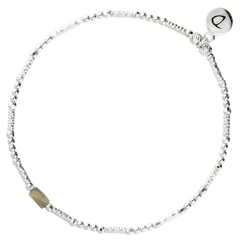 Bracelet fin élastique INFINITY KAKI SILVER - Tubes argent & Perle verte kaki