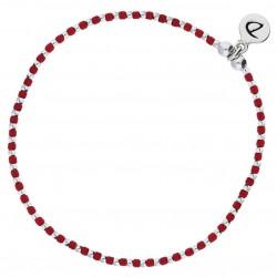 Bracelet élastique fin GRAIN DE FOLIE - Perles argent & Miyuki rouges DORIANE Bijoux