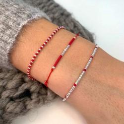 Bracelet élastique fin GRAIN DE FOLIE - Perles argent & Miyuki rouges TAILLE S