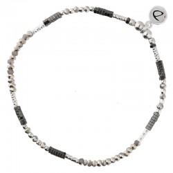 Bracelet élastiqué fin FLUFFY argent - Perles grises & Hématites noires DORIANE BIJOUX