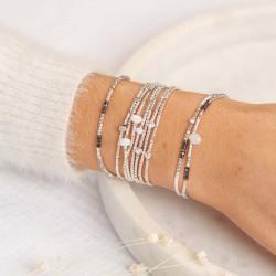 Bracelet élastiqué fin FLUFFY argent - Perles Miyuki & Hématites grises TAILLE M
