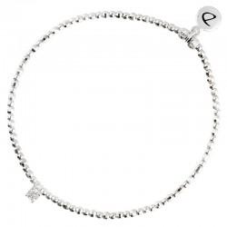 Bracelet élastiqué fin Perles Argent & OXYDE Princesse carré blanc - DORIANE Bijoux