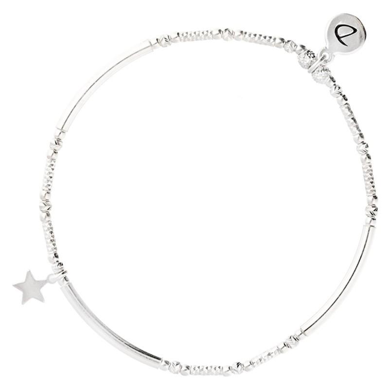 Bracelet élastique STAR argent - Tubes lisses diamantés & Etoile - DORIANE Bijoux